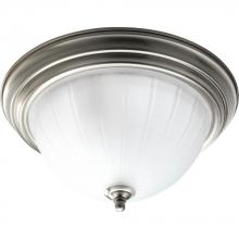Progress P3817-09EB - Two Light Brushed Nickel Etched Ribbed Glass Bowl Flush Mount