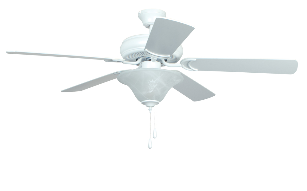"Decorator's Choice with Bowl Light Kit 52"" Ceiling Fan with Blades and Light in Matte White"