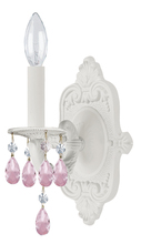 Crystorama 5021-WW-RO-MWP - Crystorama Paris Market 1 Light Rose Crystal White Sconce