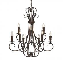 Golden 8606-CN9 RBZ - 2 Tier - 9 Light Candelabra Chandelier