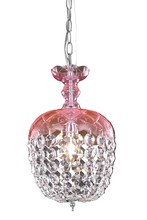 Elegant 7801D8PK/RC - 7801 Rococo Collection Pendant D:8in H:13.5in Lt:1 Pink Finish (Royal Cut Crystals)