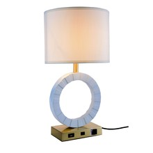 Elegant TL3002 - Brio Collection 1-Light Brushed Brass and White Finish Table Lamp