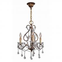 World Imports WI2220390 - Grace Collection 3-Light Antique Gold Indoor Chandelier