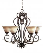 World Imports WI262424 - WI Olympus Tradition 6-Light Crackled Bronze with Silver Chandelier